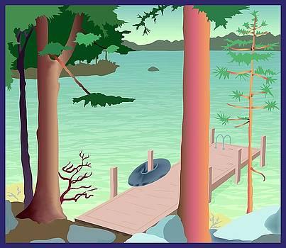 Summer Dock w/Innertube by Marian Federspiel