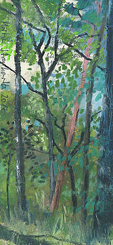Martin Stankewitz - summer forest plein air oil pastel sketch