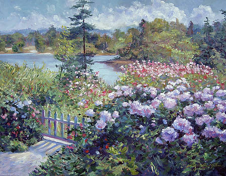 Summer Garden At The Lake by David Lloyd Glover