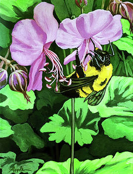 Summer Garden BUMBLEBEE and Flowers nature painting by Linda Apple