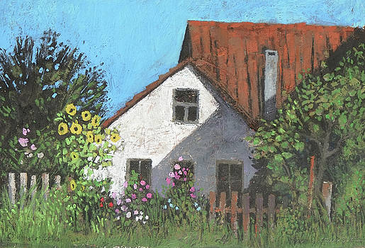 Martin Stankewitz - summer garden,rural cottage with sunflowers