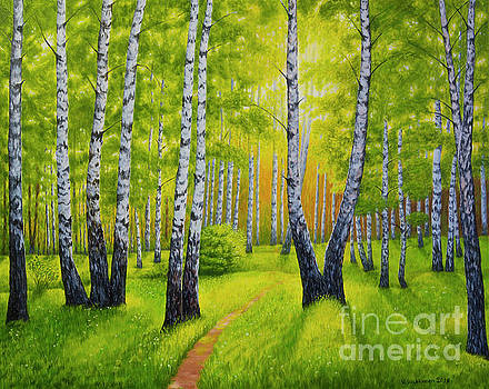 Summer in birch forest by Veikko Suikkanen