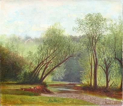 Summer Landscape with Stream by Nelson Augustus Moore