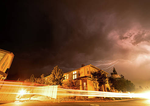 Summer Lightning and Light Trails in a Suburban Setting at Night in Reno Nevada by Brian Ball