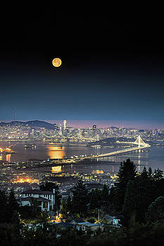 Summer Moon Set Over San Francisco by Vincent James