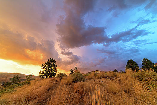 Summer Spectrum in the Sky Above Suburban Homes in the High Desert of Northwest Reno by Brian Ball