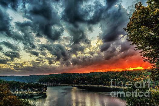 Summersville Lake Fiery Sunrise by Thomas R Fletcher