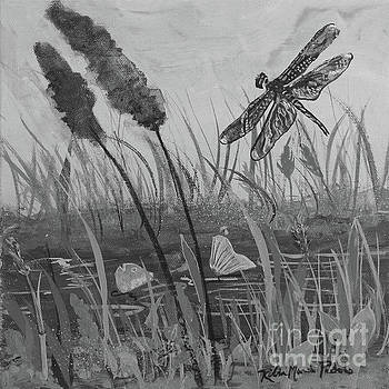 Summertime Dragonfly Black and White by Robin Maria Pedrero