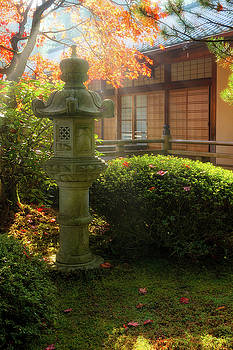 Sun Beams over Japanese Stone Lantern by David Gn