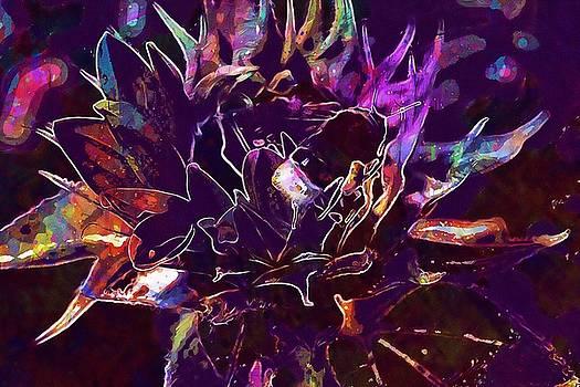 Sun Flower Hummel Blossom Bloom  by PixBreak Art