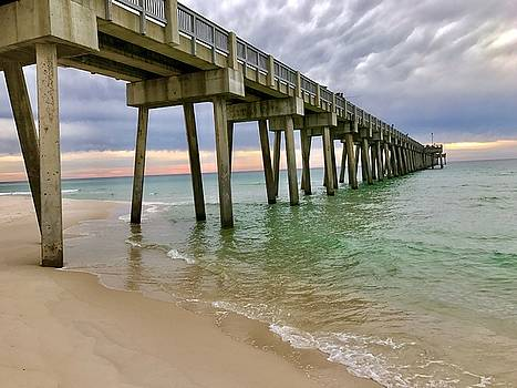 Sun going down at the Pier by Leslie Brashear