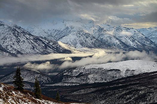 Reimar Gaertner - Sun low clouds over Middle Fork Koyakuk river valley separating