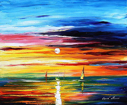 Sun Of Little Emotions - PALETTE KNIFE Oil Painting On Canvas By Leonid Afremov by Leonid Afremov