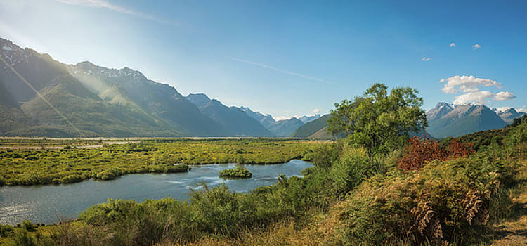 Sun Rays over Glenorchy Lagoon by Daniela Constantinescu