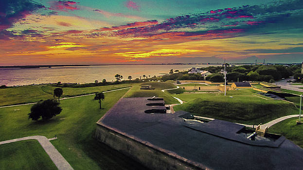 Sun Setting on Fort Moultrie by Matt Spangard