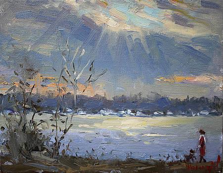 Sun setting over the Niagara River by Ylli Haruni