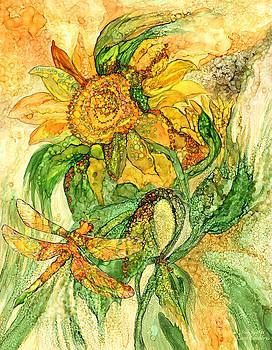 Sun Spirits - Sunflower And Dragonfly by Carol Cavalaris