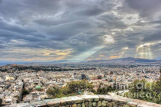 Sunbeams over the City in HDR by Vicki Spindler
