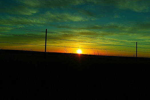 Sundown n the fenceline by Jeff Swan