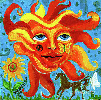 Sunface With Butterfly And Horse by Genevieve Esson