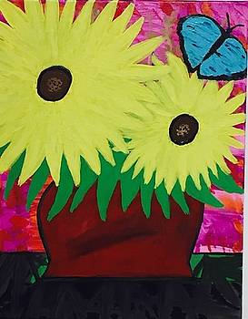 Sunflower acrylic painting by Jonathon Hansen