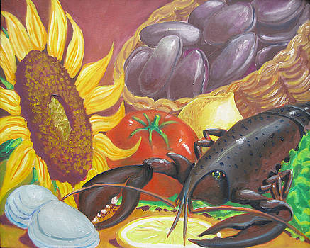 Sunflower and Lobster by D T LaVercombe