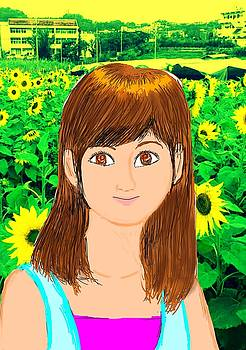 Sunflower fields and young one girl by Tetsuya Koja