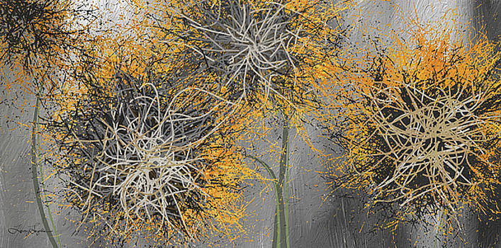 Sunflower Frenzies - Yellow And Gray Modern Art by Lourry Legarde