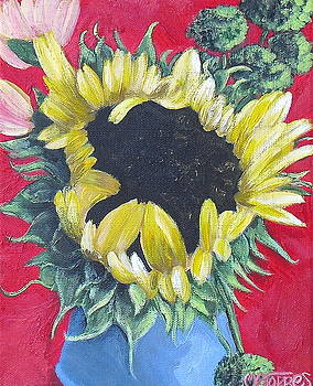Sunflower on Red by Melissa Torres