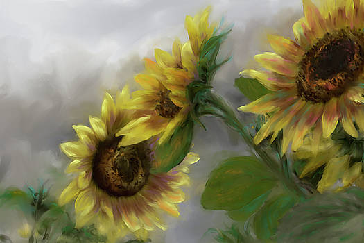 Sunflower Trio Painted by Karen Forsyth