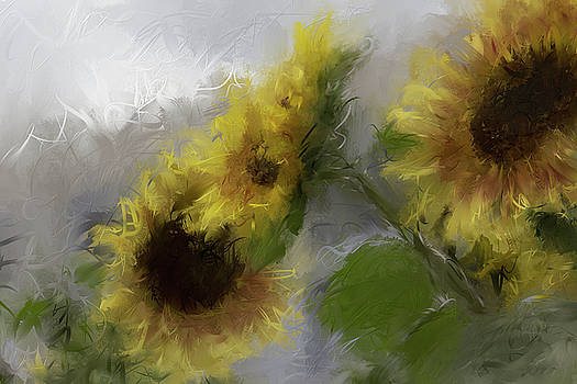 Sunflower Trio Swirled by Karen Forsyth