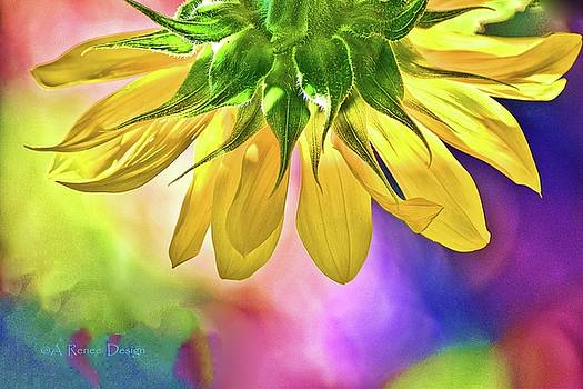 Sunflower Two with Hydrangeas by Renee Marie Martinez