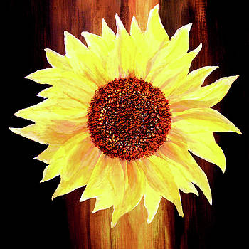 Valerie Anne Kelly - Sunflower-Floral Painting By V.kelly