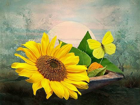 Sunflower with Butterfly by Manfred Lutzius