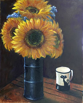 Sunflowers and Cat Cup by Aline Lotter