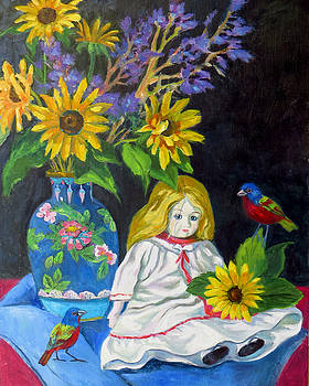 Sunflowers and Doll by Rhett Regina Owings