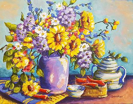 Sunflowers and Hydrangeas  by Sandra Lett