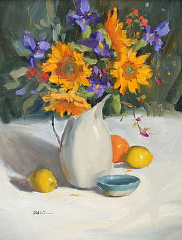 Sunflowers and Iris by Judy Crowe