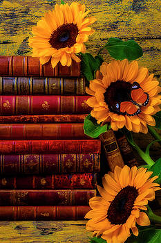 Sunflowers And Old Antique Books by Garry Gay