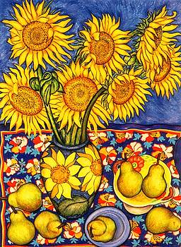 Sunflowers and Pears by Richard Lee