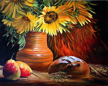 SunFlowers and Pears by Lily Adamczyk