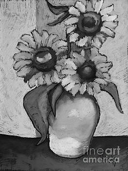 David Hinds - Sunflowers Black and White