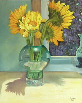 Sunflowers in a Glass Vase Number Three by Marlene Book