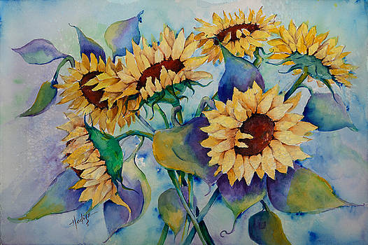 Sunflowers in bloom by Mary DuCharme