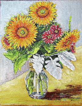 Sunflowers in Glass Vase by Thomas Michael Meddaugh