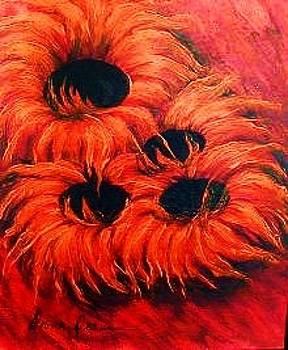 Sunflowers in Red II by Diana Dearen