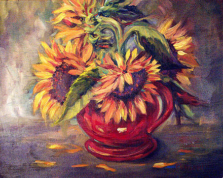 Peggy Wilson - Sunflowers in Red Vase