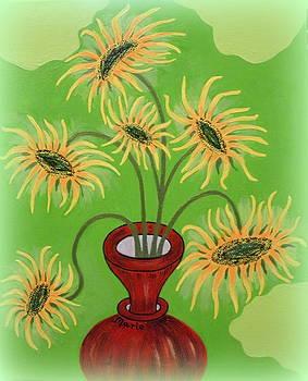 Sunflowers on Green by Marie Schwarzer