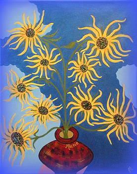 Sunflowers on Navy Blue by Marie Schwarzer