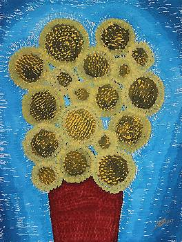 Sunflowers original painting by Sol Luckman